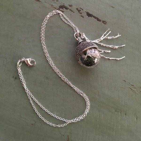 acorn snowglobe necklace