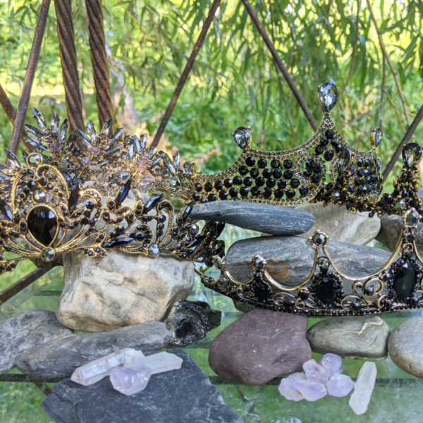 bronze with black gems